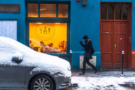KRAKOW, POLAND - JAN 25, 2015: One of the streets of Kazimierz, former jewish quarter. Steven Spielberg shot his film Schindlers List largely in Kazimierz in 1993.