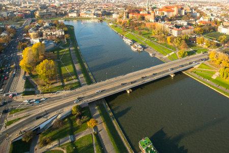 kilometres: KRAKOW, POLAND - OCT 20, 2013: Aerial view of the Vistula River in the historic city center. Vistula is the longest river in Poland, at 1,047 kilometres in length.