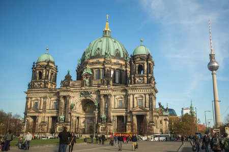 evangelical: BERLIN, GERMANY - NOV 17, 2014: View of the Berlin Cathedral  (Berliner Dom) is the largest Evangelical Church in Germany. Cathedral was built in 1894-1905 by project Julius Raschdorff. Editorial