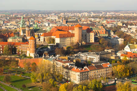 polska monument: KRAKOW, POLAND - OCT 20, 2013: Aerial view of Royal Wawel castle with park. The monument to the history of the Decree of the President Lech Walesa on Sep 8, 1994. Editorial