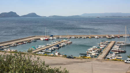 messinia: PYLOS, GREECE - OCT 6, 2014: View of the island. Pylos has a long history, In Classical times, the site was uninhabited, but became the site of the Battle of Pylos in 425 BC, during Peloponnesian War. Editorial