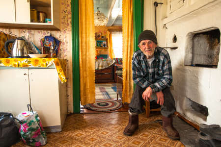 reg: VINNITSY, RUSSIA - CIRCA MAY, 2012: Unidentified old man Veps - small Finno-Ugric people living on territory of Leningrad region in Russia. Total number in Leningrad reg.- 1380 people (to 2010 year) Editorial
