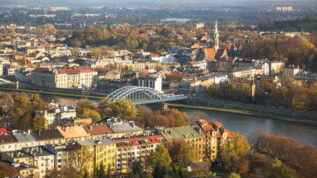 kilometres: KRAKOW, POLAND - CIRCA OCT, 2013: Aerial view of the Vistula River in the historic city center. Vistula is the longest river in Poland, at 1,047 kilometres in length.
