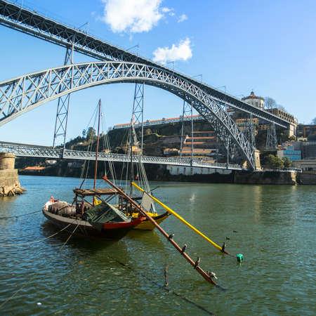 douro: Ribeira, traditional boats at Douro river, Porto, Portugal.