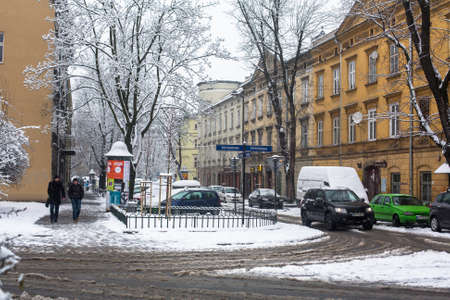 judaic: KRAKOW, POLAND - JAN 25, 2015: One of the streets of Kazimierz  quarter, is a historical district of Krakow and historical monument Decree President Walesa Sep 8, 1994, also declared a World Heritage Site.