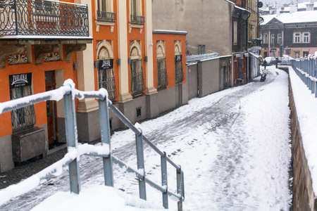 steven: KRAKOW, POLAND - JAN 25, 2015: One of the streets of Kazimierz, former jewish quarter. Steven Spielberg shot his film Schindlers List largely in Kazimierz in 1993.