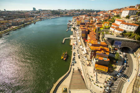 recognised: PORTO, PORTUGAL - FEB 17, 2015: Top View of Douro river at center of Porto. In 1996, UNESCO recognised Old Town of Porto as a World Heritage Site.