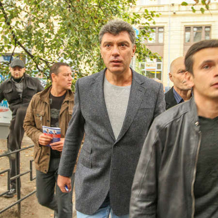 statesman: MOSCOW - AUG 31, 2010: Boris Nemtsov - russian statesman, one of the leaders of opposition during anti-Putin protest. Boris Nemtsov was killed in the night of Feb 28, 2015 in center of Moscow.