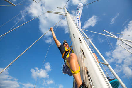 ellada: HYDRA, GREECE - CIRCA OCT, 2014: Unidentified sailors participate in sailing regatta 12th Ellada Autumn 2014 among Greek island group in the Aegean Sea, in Cyclades and Argo-Saronic Gulf.