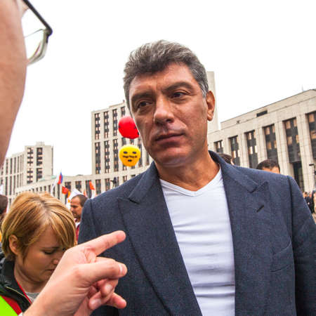 statesman: MOSCOW - SEP 15, 2012: Boris Nemtsov - russian statesman, one of the leaders of opposition during anti-Putin protest. Boris Nemtsov was killed in the night of Feb 28, 2015 in center of Moscow.