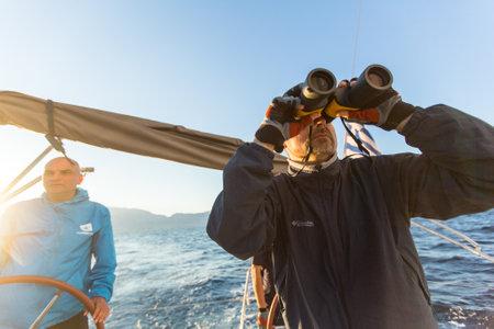 ellada: PATRAS, GREECE - CIRCA OCT, 2014: Unidentified sailors participate in sailing regatta 12th Ellada Autumn 2014 among Greek island group in the Aegean Sea, in Cyclades and Argo-Saronic Gulf.