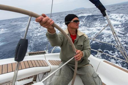 ellada: PYLOS, GREECE - CIRCA OCT, 2014: Unidentified sailors participate in sailing regatta 12th Ellada Autumn 2014 among Greek island group in the Aegean Sea, in Cyclades and Argo-Saronic Gulf.