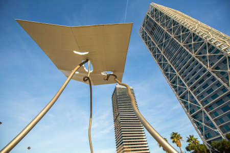 summer olympics: BARCELONA, SPAIN - CIRCA DEC, 2014: Architecture and art-objects at the Olympic Harbour. Located east of the Port of Barcelona, it hosted the sailing events for the 1992 Summer Olympics. Editorial