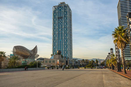 hosted: BARCELONA, SPAIN - CIRCA DEC, 2014: Architecture and art-objects at the Olympic Harbour. Located east of the Port of Barcelona, it hosted the sailing events for the 1992 Summer Olympics. Editorial