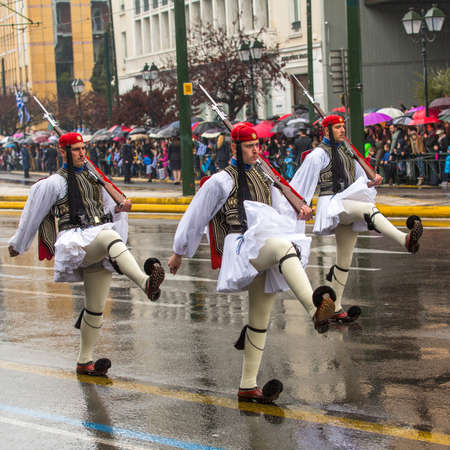 ceremonial clothing: ATHENS, GREECE - MAR 25, 2015: During Independence Day or Day of National Revival Greece is an annual national holiday, on this day, Greeks pay tribute to the heroes of the Revolution 1821-1829.