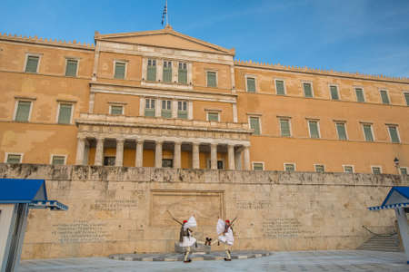 ceremonial clothing: ATHENS, GREECE - APR 12, 2015: Greek soldiers Evzones (or Evzoni) dressed in full dress uniform, refers to the members of the Presidential Guard, an elite ceremonial unit, active from 1833 - present.