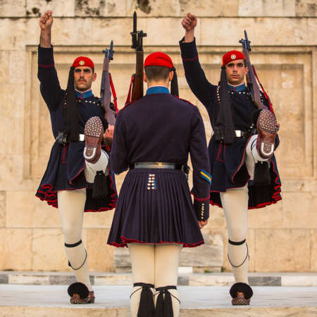 ceremonial: ATHENS, GREECE - APR 14, 2015: Greek soldiers Evzones (or Evzoni) dressed in service uniform, refers to the members of the Presidential Guard, an elite ceremonial unit, active from 1833 - present.