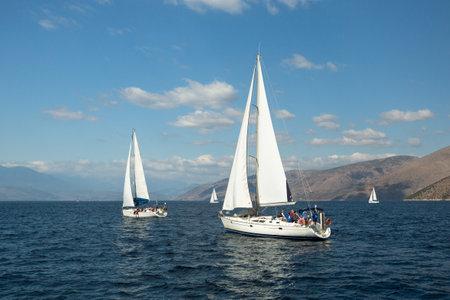 ellada: HYDRA, GREECE - CIRCA OCT, 2014: Sailboat participate in sailing regatta 12th Ellada Autumn 2014 among Greek island group in the Aegean Sea, in Cyclades and Argo-Saronic Gulf. Editorial