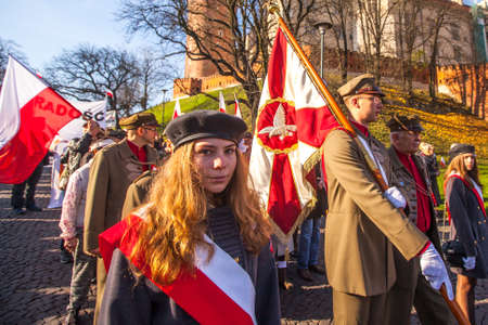 public holiday: KRAKOW, POLAND - NOV 11, 2014: Unidentified participants celebrating National Independence Day an Republic of Poland - is a public holiday, celebrated every year from 1918 year.