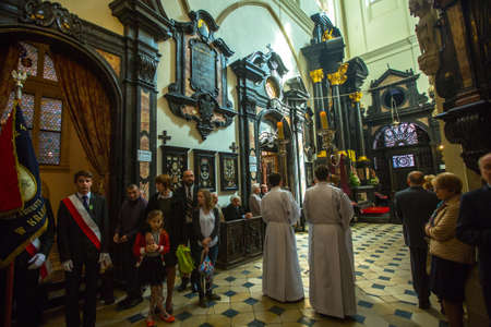 public holiday: KRAKOW, POLAND - MAY 3, 2015: During a solemn Church service on the occasion of annual Polish national and public holiday the May 3rd Constitution Day (of May 3, 1791)