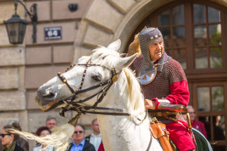 reenacting: KRAKOW, POLAND - MAY 3, 2015: Unidentified participants annual of Polish national and public holiday the May 3rd Constitution Day. Holiday celebrates declaration of the Constitution of May 3, 1791. Editorial