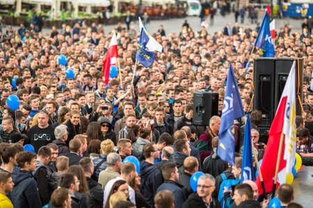 political rally: KRAKOW, POLAND - APR 29, 2015: During the rally of the presidential candidate of Poland - Janusz Korwin-Mikke - creator of a Polish liberal political party Coalition for the Renewal of the Republic.