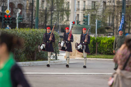 evzones guard: ATHENS, GREECE - CIRCA APR, 2015: Greek soldiers Evzones (or Evzoni) dressed in service uniform, refers to the members of Presidential Guard, an elite ceremonial unit, active from 1833 to present. Editorial