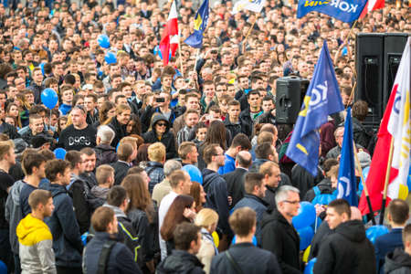 liberal: KRAKOW, POLAND - APR 29, 2015: During the rally of the presidential candidate of Poland - Janusz Korwin-Mikke - creator of a Polish liberal political party Coalition for the Renewal of the Republic.