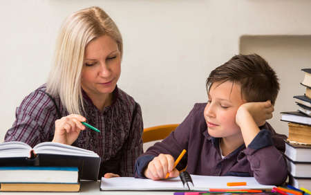 Schoolboy studying with the help of a tutor. Stock Photo