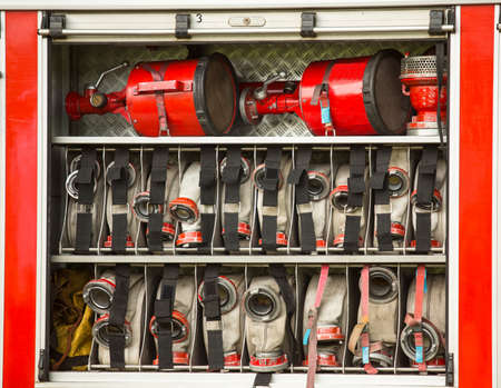 fire hoses: Rescue Equipment in Fire Engine.