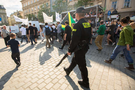 palliative: KRAKOW, POLAND - MAY 9, 2015: During March For Cannabis Liberation Krakow 2015 Marijuana Marches held every year in the spring time all over the world, in more than 300 cities.