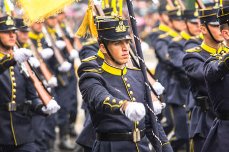 ceremonial clothing: ATHENS, GREECE - MAR 25, 2015: Soldiers of Greek army during Independence Day of Greece is an annual national holiday, on this day, Greeks pay tribute to the heroes of the Revolution 1821-1829.