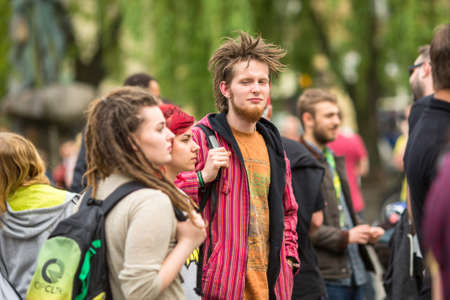 palliative: KRAKOW, POLAND - MAY 9, 2015: Unidentified participants of the March For Cannabis Liberation. Marijuana Marches held every year in the spring time all over the world, in more than 300 cities. Editorial