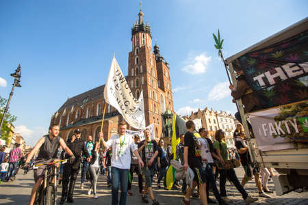 palliative: KRAKOW, POLAND - MAY 9, 2015: Unidentified participants of the March For Cannabis Liberation. Marijuana Marches is a global movement manifesto fighting for a rational approach towards hemp plant. Editorial