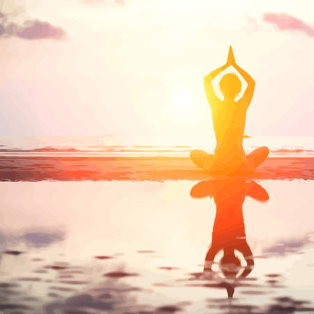 health resort: Vector illustration of Silhouette of yoga woman on sea sunset, In bright colors.