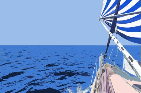 open sea: Vector illustration - Sailing. Yacht in the open Sea. Illustration