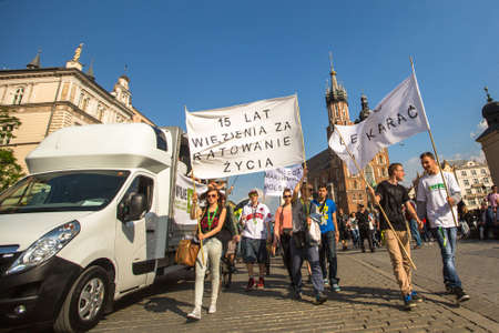 rational: KRAKOW, POLAND - MAY 9, 2015: Unidentified participants of the March For Cannabis Liberation. Marijuana Marches is a global movement manifesto fighting for a rational approach towards hemp plant. Editorial