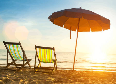 Beach loungers on deserted coast sea at sunrise. Vector illustration.