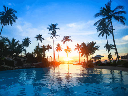 tropics: Beautiful sunset at a beach resort in tropics. Vector illustration. Illustration