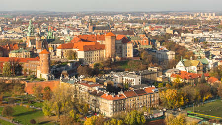 polska monument: KRAKOW, POLAND - CIRCA OCT, 2013: Aerial view of Royal Wawel castle with park. The monument to the history of the Decree of the President Lech Walesa on Sep 8, 1994. Editorial