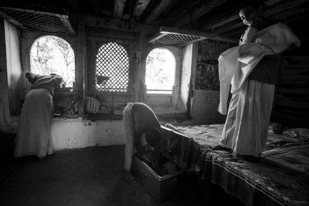 sanskrit: KATHMANDU, NEPAL - CIRCA DEC, 2013: Unknown children after lesson at Jagadguru School. School established at 2013, to let new generation learn Sanskrit and preserve Hindu culture. Editorial