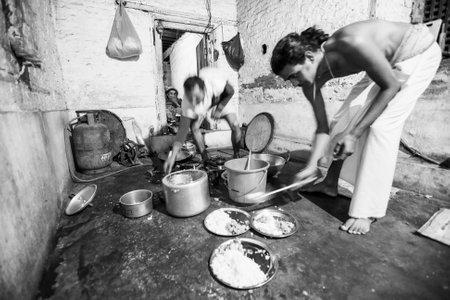 sanskrit: KATHMANDU, NEPAL - CIRCA DEC, 2013: Unknown people during dinner at Jagadguru School. School established at 2013, to let new generation learn Sanskrit and preserve Hindu culture. Editorial