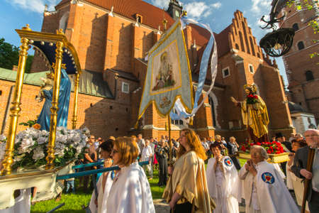 jesus blood: KRAKOW, POLAND - JUN 4, 2015: During the celebration the Feast of Corpus Christi (Body of Christ) also known as Corpus Domini, is a Latin Rite celebrating belief in the body and blood of Jesus Christ.