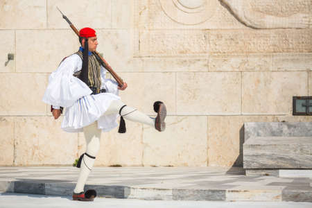 ceremonial: ATHENS, GREECE - CIRCA APR, 2015: Greek soldiers Evzones dressed in full dress uniform, refers to the members of the Presidential Guard, an elite ceremonial unit, active from 1833 to present.