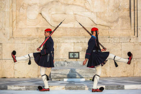 evzones guard: ATHENS GREECE  CIRCA APR 2015: Greek soldiers Evzones dressed in full dress uniform refers to the members of the Presidential Guard an elite ceremonial unit active from 1833 to present. Editorial