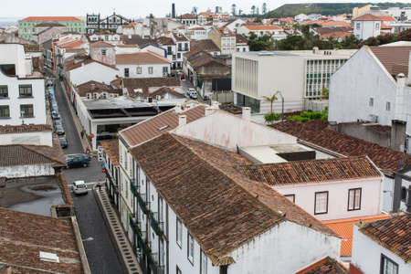 revised: PONTA DELGADA, PORTUGAL - JUN 15, 2015: Top view of center of Ponta Delgada (Azores). City is located on Sao Miguel Island (232.99 km2) Region capital under the revised constitution of 1976. Editorial