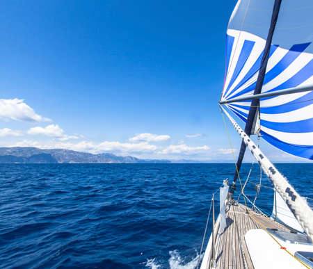 Boat in sailing regatta. Luxury yachts.