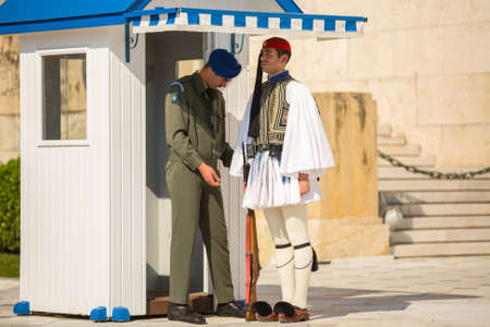 tomb of the unknown soldier: ATHENS, GREECE - CIRCA APR, 2015: Greek soldiers Evzones dressed in full dress uniform, refers to the members of the Presidential Guard, an elite ceremonial unit, active from 1833 to present.