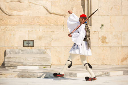 ceremonial clothing: ATHENS, GREECE - CIRCA APR, 2015: Greek soldiers Evzones dressed in full dress uniform, refers to the members of the Presidential Guard, an elite ceremonial unit, active from 1833 to present.