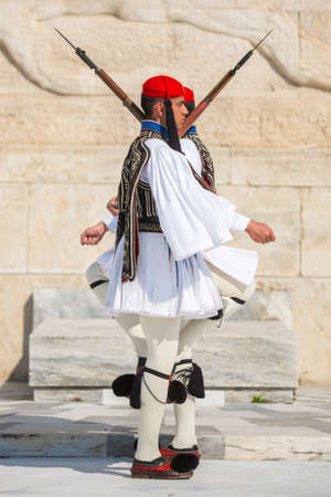 evzones guard: ATHENS, GREECE - CIRCA APR, 2015: Greek soldiers Evzones dressed in full dress uniform, refers to the members of the Presidential Guard, an elite ceremonial unit, active from 1833 to present.
